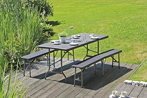 Tischset Gartengarnitur VENTANA Kunststoff Rattanoptik
