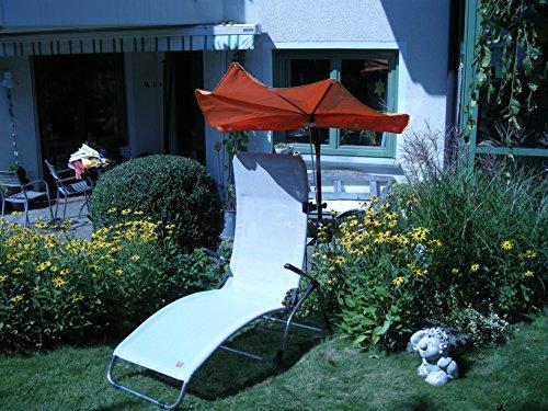 Jardin – Terrasse – Loisirs – Teinté Set Liegen – Chaise longue Jan Kurtz – Samba – Chaise longue relax – seulement 5,4 kg – Couleur Argent Gris – extérieur Chaise longue relax – Charge Pied partie flottante avec dossier haut – env. 120 kg – Aluminium – Stabielo Armature – avec abat-jour Holly compartiments Rouge – Holly Sunshade® – Innovation brevetée fabriqué en Allemagne – Disponible également en Pistache et taupe – Compartiments parasols Voir Palette – Zangenberg Husum – Holly-Sunshade Beach and Shore®