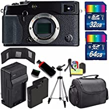Fujifilm X-Pro1 Mirrorless Digital Camera (International Model) + Extra Battery + Charger + 32GB Card + 64GB Card + Case + USB Card Reader + Tripod + Deluxe Accessory Kit + Memory Card Wallet Bundle
