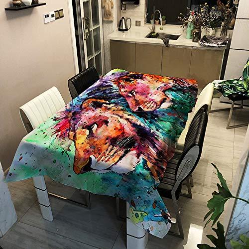 SHANGZHAI Tischdecke aus der Tiger Lion Serie, wasserdicht und Antifouling, rechteckige Tischdecke mit Polyesteraufdruck, Tischdecke, Kaffeetischdecke ZB2096-7 90x90cm -