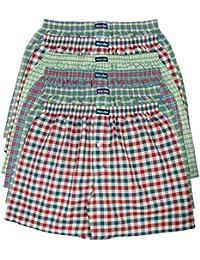 6 MioRalini 100% Baumwolle & lockere US Style Webboxer Boxershorts in 6 Farben karierten Mustern, Herren Boxershort Boys Short Jungen Boxer gewebte
