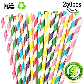 Striped Paper Straw Biodegradable and Recycled, Drinking Straws Adding A Decorative Touch to Party Drinks with All The Color of The Rainbow by Amison (250pcs)