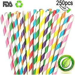 Pajita de papel a rayas para decoraciones cariciosas de bebidas, fiestas, cumpleaños, bodas, etc. con todo el color del arco iris por Amison