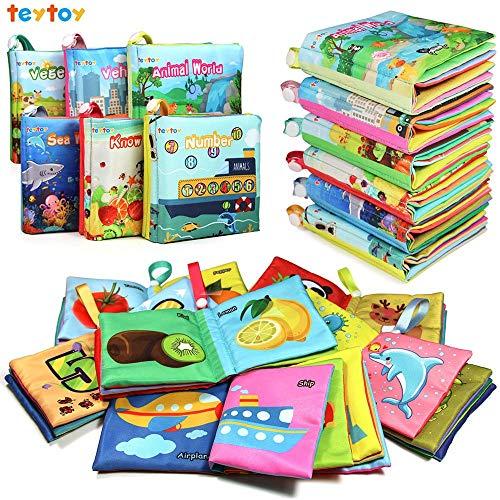 Aijiaye 6 Stücke Baby Buch, Weich Baby Spielzeug ab 0 monate, Baby Tuch Bücher Früherziehung Spielzeug Aktivität Crinkle Tuch Buch für Kleinkinder, Säuglinge und Kinder Perfekt für die Babyparty
