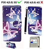 Alcatel PIXI 4 5.0 OT5010D 3G Case PU Leather Flip Protective Magnetic Wallet Cover Case for Alcatel OneTouch PIXI 4 5.0 Inch OT5010D 3G with Card Slot and Stand Feature (BUTTERFLY BLUE BOOK)