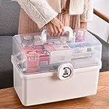 Dittzz Boîte à pharmacie à 3 niveaux- Boîte de premiers secours- Portable et pliable- 34x 19x 22,5cm