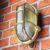 Außenlampe Wand Maritim aus Messing Glasschirm Geriffelt Rustikal Rostfrei IP64 Wandleuchte Haus Balkon