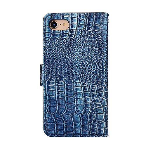 """MOONCASE iPhone 7/7G Coque, [Crocodile] Housse en Prime Cuir Etui à rabat pour iPhone 7/7G 4.7"""" Portefeuille Porte-cartes TPU Case avec Béquille Noir Foncé Bleu"""