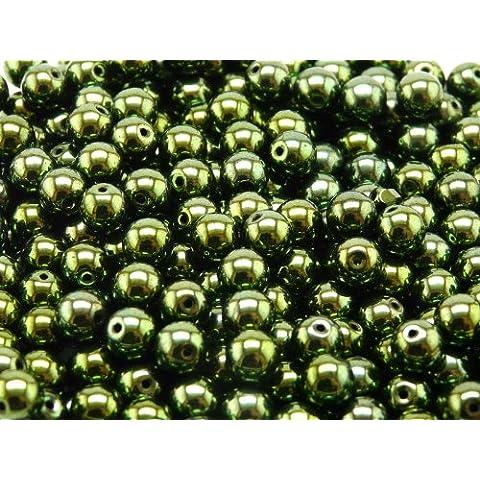 50 pc Czech Vetro Pressato Perle, Rotondo 6mm Jet Green Lustre