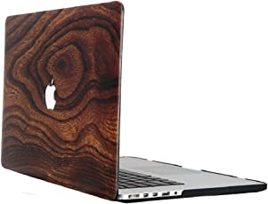 """Heartly Printed Flip Thin Hard Shell Rugged Armor Back Case For MacBook Retina 12"""" inch Retina Display A1534 - Brown Wooden"""