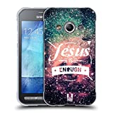Head Case Designs Jesus is Enough Wolke Schriftzug Soft Gel Hülle für Samsung Galaxy Xcover 3