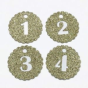 24 Adventskalender Zahlen Anhänger Adventskalenderzahlen Kreis gezahnt GLITTER GOLD zum Anhängen 1-24 Countdown…