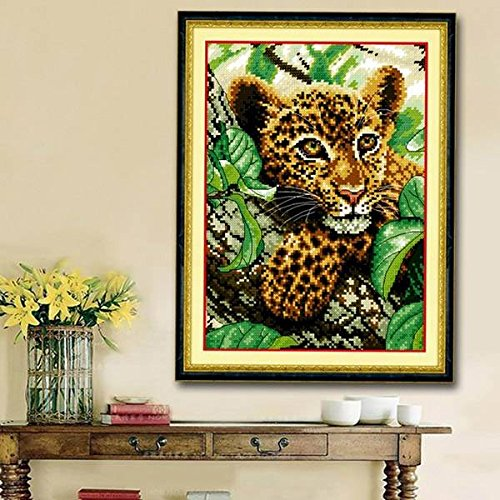 mark8shop 25 x 34 cm DIY Kreuzstich Naht Kit Little Leopard Design Stickerei Home Dekoration -