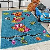 Kinder Teppich Niedliche Eulen Türkis Blau Orange Grün Pink, Grösse:Ø 120 cm Rund