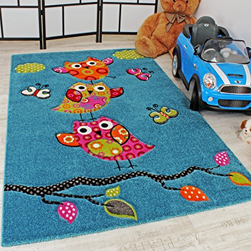 65f7b145cda Kids Carpet Cute Owls Modern Children Rug in Blue Turquoise Orange Cream  Green