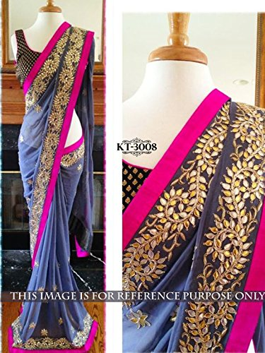 Colour Trendz Women's Georgette Saree (0_Purple)