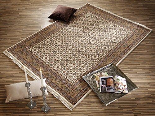 BADOHI HERATI echter klassischer Orient-Teppich handgeknüpft in creme-beige, Größe: 80x400 cm
