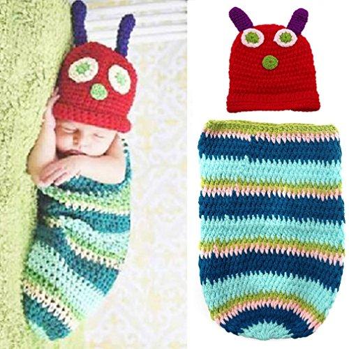 Tonsee Niedliche Raupe Baby Neugeborene Handarbeit häkeln Hut Kleider Photographie - Niedliche Raupe Kostüm