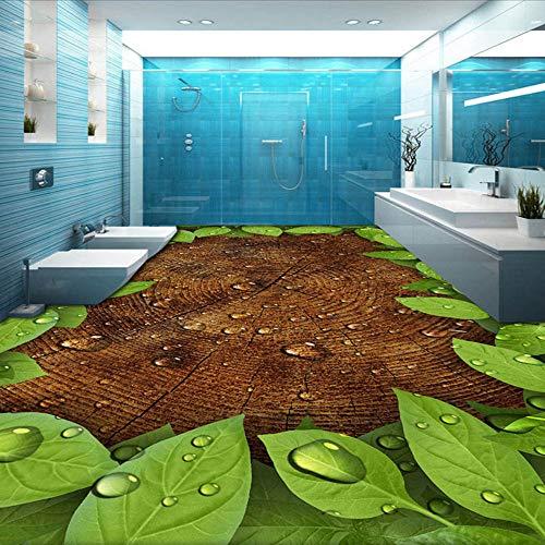 Custom Photo Mural Wallpaper Wood Grain Green Leaves Water Drops Bathroom Kitchen Floor Decor Painting PVC Waterproof Wall paper,250cmX175cm