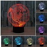 3D Illusion Tischlampe ,KINGCOO 7 Farben 3D Effekt Touch Nachtlicht Schreibtischlampe Dekoratives Licht für Kinder Weihnachtsgeschenk(Europäische Kugel)