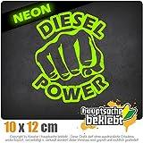 Diesel Power Schlag Faust 10 x 12 cm IN 15 FARBEN - Neon + Chrom! Sticker Aufkleber