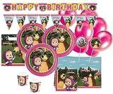 61 Teile Mascha und der Bär Party Deko Set für 6-8 Kinder