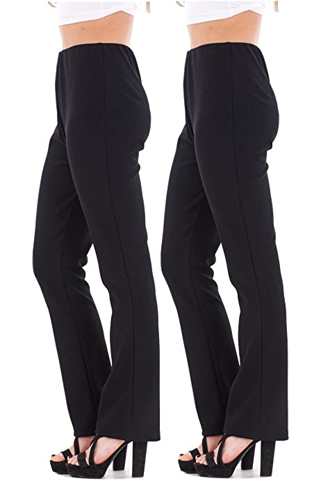 NEW LADIES PACK OF 2 BOOTLEG STRETCH FINALLY RIBBED TROUSERS BROWN SIZE 8-26