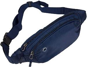 Bauchtasche Multitool Hüfttasche Herren Damen zum Reisen Radfahren Jogging Wandern Kellner Ultraleichte Wasserdichte Lauftasche Gürteltasche mit Kopfhörerloch iPhone Samsung Marineblau