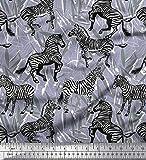 Soimoi Grau Satin Seide Stoff Blätter, und Zebra Tier