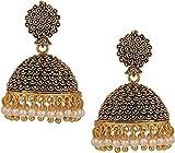 #4: Meenaz Wedding Bridal Traditional Gold Metal Black Alloy Elegant Jhumki for Weddings, Engagements, Parties women Girls- jhumki earrings-271