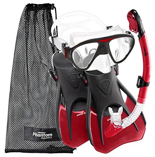 Phantom Aquatics vitesse Sport Signature Masque/palmes/tuba pour adulte, rouge Rouge S/M