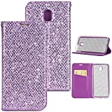 Sycode Coque Galaxy J7 2017,Full Protection Etui Coque Galaxy J7 2017,Luxe Bling Glitter PU Cuir Bling Cristal Brillant Glitter Sparkle avec Support de Stand et Cartes Slots Fermeture Magnétique Bookstyle Cover Case Multifonctionnel Shell Bumper pour Samsung Galaxy J7 2017-Violet