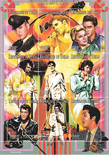 Briefmarken für Sammler - Elvis Presley The King of Rock Music MNH Souvenir Blatt/Tschad / 1997 - Elvis-souvenir