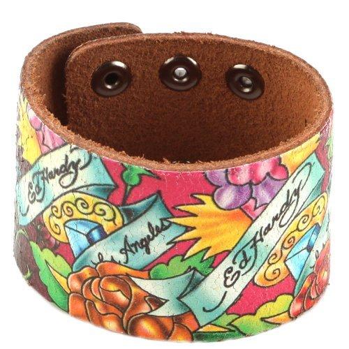Ed Hardy EHHP3005 Rose Crackled Leather Bracelet by Ed Hardy -