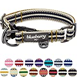 Blueberry Pet 3M Reflective Multi-colored Stripe Olive and Blue-gray Dog Collar, Small, Neck 30cm-40cm, Adjustable Collars for Dogs