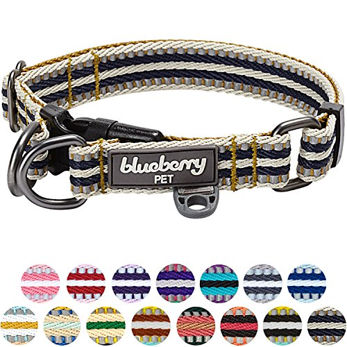 Blueberry Pet 3M Reflective Multi-colored Stripe Olive and Blue-gray Dog Collar, Small