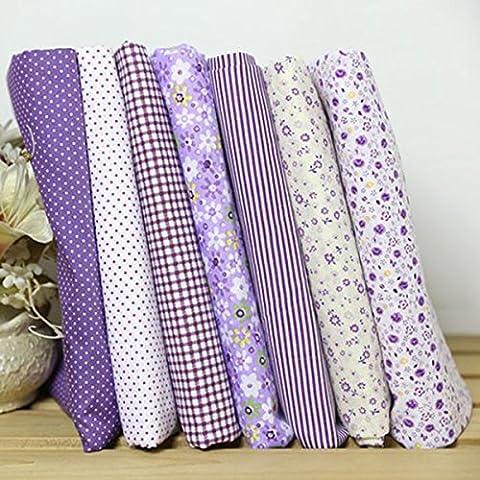7pcs Square Floral Cotton Material Nähen Handwerk Patchwork Tuch 25 x 25cm (Lila)