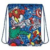 PERLETTI Schuhtaschen Marvel Avengers für Kinder - Turnbeutel undurchlässig mit Iron Man Captain America Spiderman und Hulk - Disney Comics Sportsack Ideal für Reisen - Blau - 39x31 cm