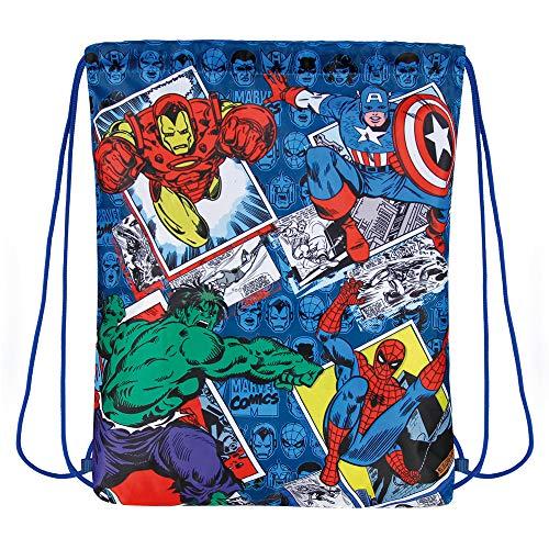PERLETTI Schuhtaschen Marvel Avengers für Kinder - Turnbeutel undurchlässig mit Iron Man Captain America Spiderman und Hulk - Disney Comics Sportsack Ideal für Reisen - Blau - 39x31 ()