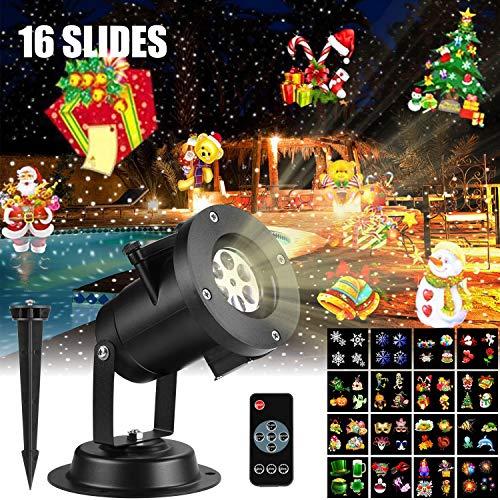 LED Projektionslampe Weihnachtsbeleuchtung mit 16 Stücke umschaltbare Muster und Fernbedienung, Innen und Außen Projektor Lichter, Kinder Projektor Effektlicht für Halloween Party Feiertagsdekoration