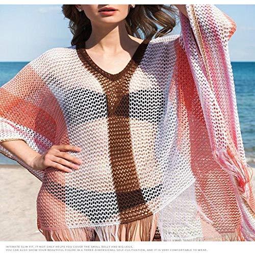 Sexy Bademode Cover Up Bikini Frauen Häkeln Badeanzug Abdeckung up Badeanzug Strand Tragen Stricken Bademode Mesh Strand Kleid Tunika-in Jacke & Co aus RL1418 Red One Size