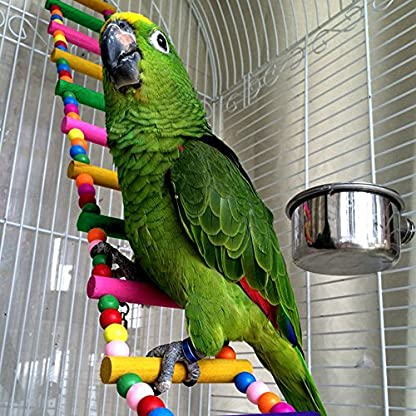 MEWTOGO 1.2 M Colorful Wooden Pet Ladder Bird Toy and a Swing - 18 Steps Rainbow Hanging Climbing Bridge for Parrot Training 5