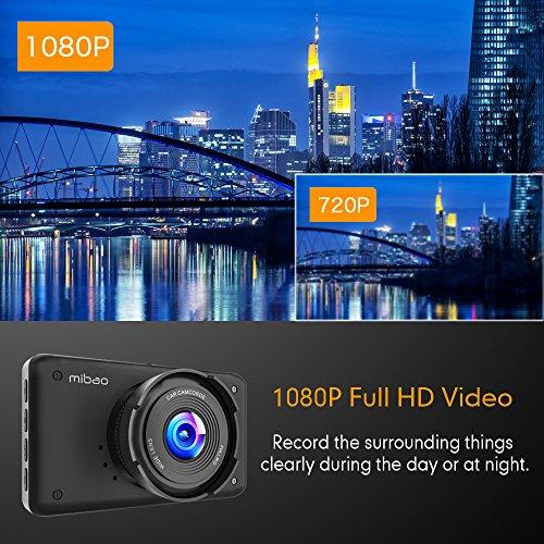 Mibao Dash Cam per Auto Telecamera Auto Dashcam 1080P con 3.0″ LCD, 170 Gradi, 6 Glens, G-Sensor, WDR, Rilevazione di Movimento, Registrazione in Loop, Monitor di Parcheggio - 2