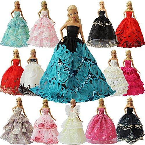 ZITA ELEMENT 5er Packung Handmade Bekleidung für 11,5 inch Girl Doll Puppe Hochzeit Party Abendkleid Kleider & Kleidung Mädchen Geschenk Modisch Brautkleider Ballkleider - Barbie-party Ken