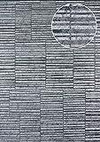 Streifen Tapete Atlas 24C-5056-3 Vliestapete glatt mit grafischem Muster und Metallic Effekt silber platin grau-weiß 7,035 m2