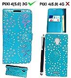 für Alcatel Onetouch Pixi 4 5010D (5,0 Zoll) (3G) Hülle Kunstleder Tasche PU Schutzhülle Tasche Leder Brieftasche Hülle Case Cover + Stylus
