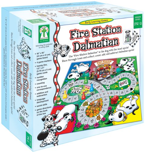 FIRE STATION DALMATIAN: THE FIRE STATION DALMATIAN IS THE DOG WITH THE MOST SPOTS! RACE THROUGH TOWN AND COLLECT  COUNT  ADD  AND SUBTRACT D