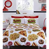 Image of #Bedding Fast Food Got The Munchies Duvet Cover Set, 52 Percent Polyester/48 Percent Cotton, Multi-Colour, Double - Comparsion Tool