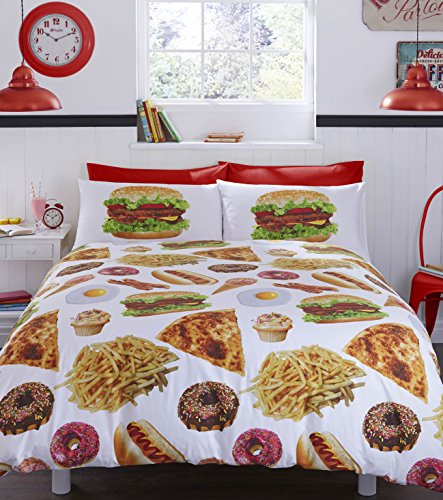 "#bedding ""Fast Food Got The Munchies Duvet Cover Set, 52 Percent Polyester/48 Percent Cotton, Multi-Colour, Double"