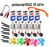 Science projects kit for DIY Toy Motor,9v battery , mini 4wing fan,9v battery snap,swichs,& Leds (5pcs each)